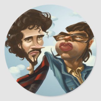 Flight of the Concords Caricature Round Sticker