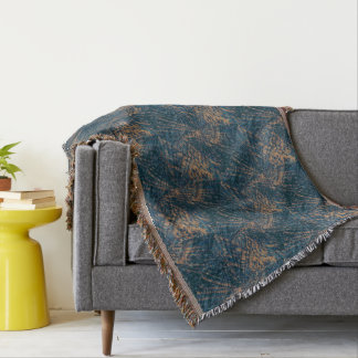Flight of the peacock abstract pattern throw