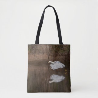 Flight of the Snowy Egret Tote Bag