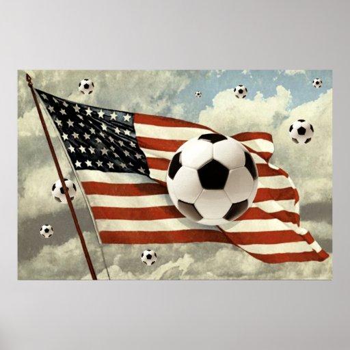 Flight of the Soccer Balls US flag Soccer Futebol Poster
