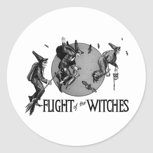 Flight of the Witch Vintage Halloween Illustration Stickers