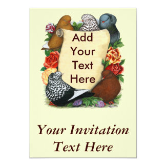 Flight Pigeon Scroll 13 Cm X 18 Cm Invitation Card