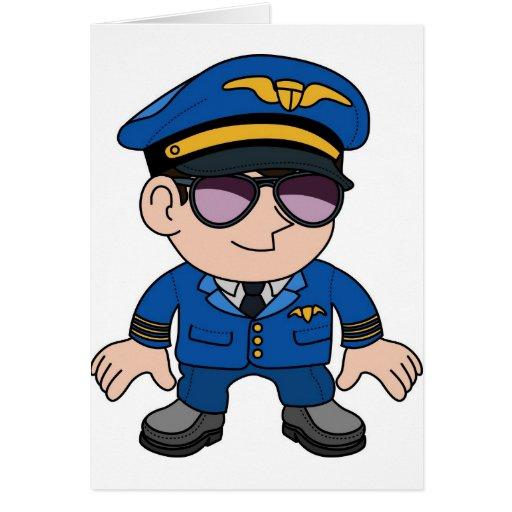 Flight pilot in sunglasses greeting cards