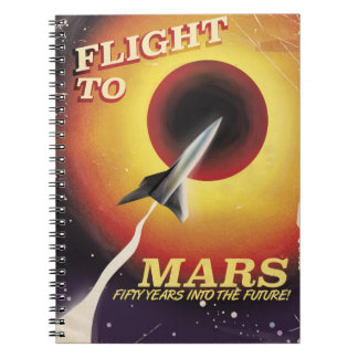 Flight To Mars! vintage sci-fi poster Notebooks