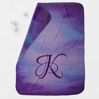 Flighty Baby   Monogram Purple Blue Pink   Pastel Baby Blanket