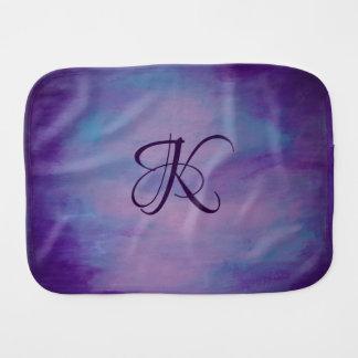 Flighty Baby | Monogram Purple Blue Pink | Pastel Burp Cloth