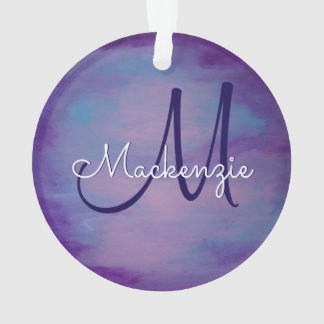 Flighty Holiday | Name Purple Pink Blue Pastel Sky Ornament