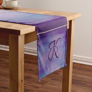Flighty Table | Monogram Purple Blue Pink Pastel | Short Table Runner