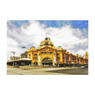 "Flinder's Street Station 24"" x 16"" Canvas Canvas Print"