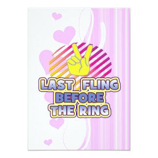 "fling ring peace bachelorette wedding bridal 5"" x 7"" invitation card"