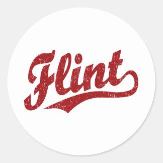 Flint script logo in red classic round sticker