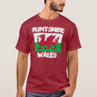 Flintshire, Wales with Welsh flag T-Shirt