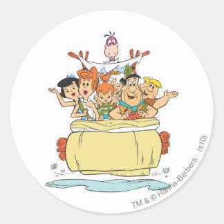 Flintstones Family Roadtrip Round Sticker