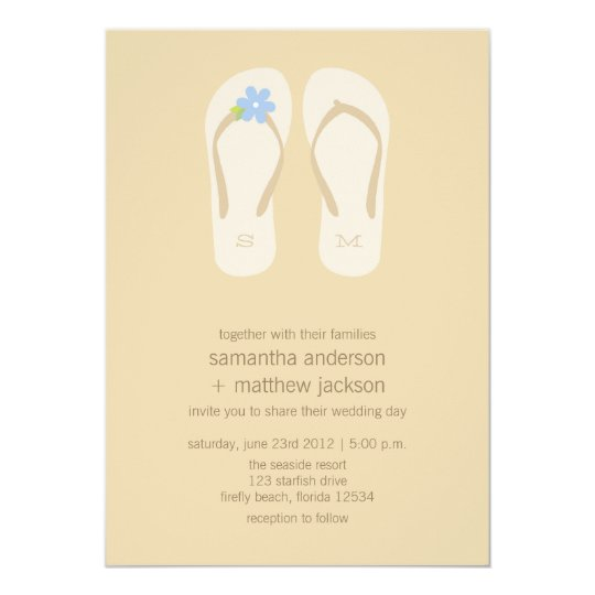 Flip Flop Beach Wedding Invitations -Blue Flower