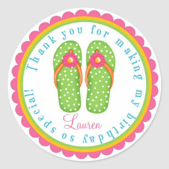 Flip Flop Birthday Stickers