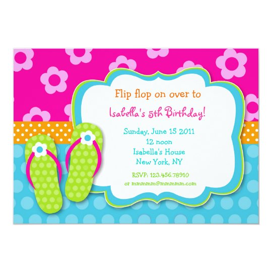 Flip Flop Luau Pool Party Birthday Invitaitons Card