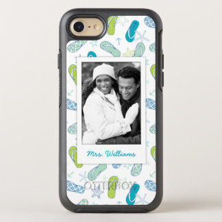 Flip Flop Pattern   Your Photo & Name OtterBox Symmetry iPhone 7 Case
