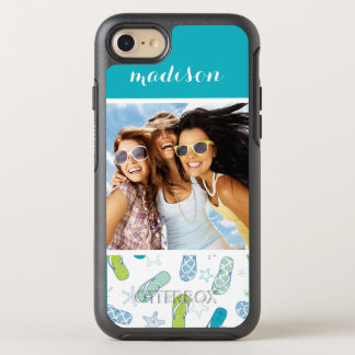 Flip Flop Pattern | Your Photo & Name OtterBox Symmetry iPhone 8/7 Case