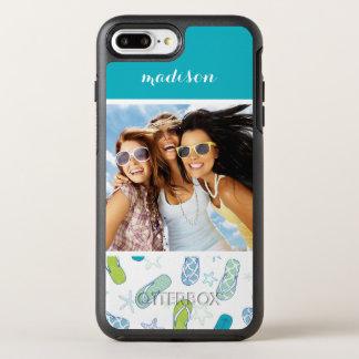 Flip Flop Pattern | Your Photo & Name OtterBox Symmetry iPhone 8 Plus/7 Plus Case