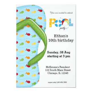 Flip Flop Pool Party 13 Cm X 18 Cm Invitation Card