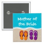 Flip Flop Wedding on the Beach Bridal Party 15 Cm Square Badge