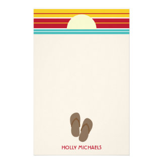Flip Flops & 70s Inspired Beach Sunset Stationery
