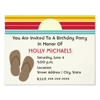 Flip Flops & 70s Inspired Sunset Birthday Invite