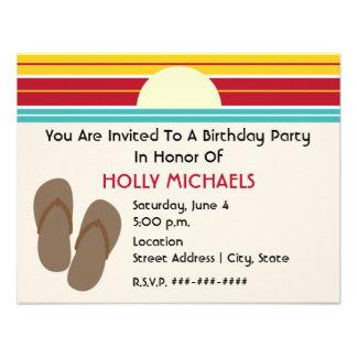 Flip Flops 70s Inspired Sunset Birthday Invite