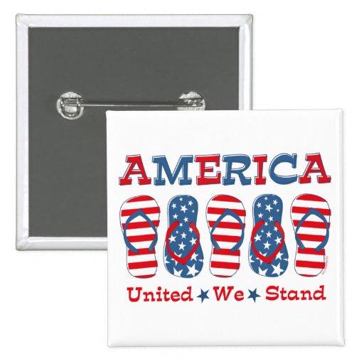 Flip Flops America 15 Cm Square Badge