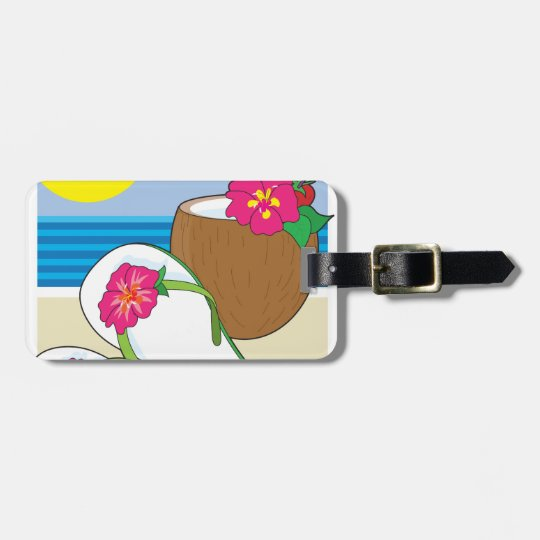 Flip Flops and Drink Luggage Tag