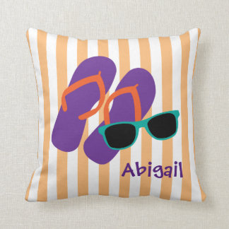 Flip Flops and Sunglasses, Personalised Throw Pillow