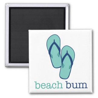 Flip Flops Beach Bum Square Magnet