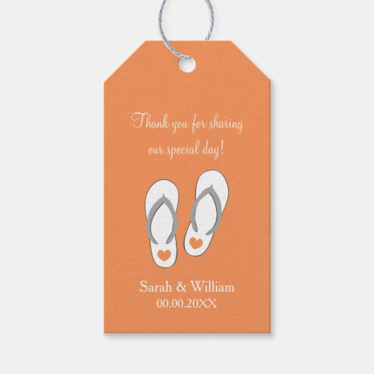 Flip flops beach wedding thank you favour gift