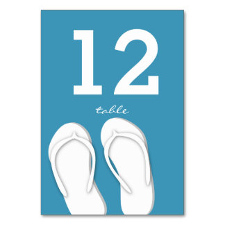Flip Flops Blue Table Number Card Table Cards