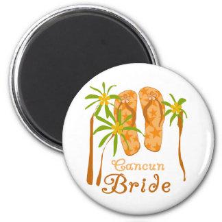 Flip Flops Cancun Bride 6 Cm Round Magnet