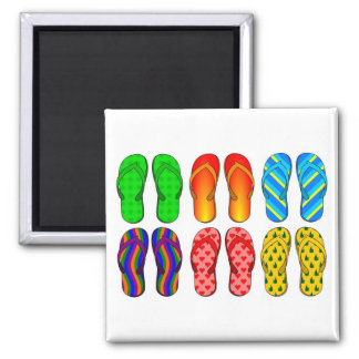 Flip Flops Colorful Fun Beach Theme Summer Gifts Square Magnet