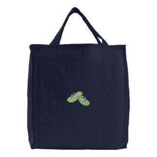 Flip Flops Embroidered Tote Bag