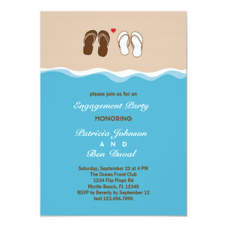 "Flip Flops Engagement Party Invitation 5"" X 7"" Invitation Card"