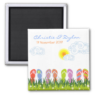 Flip Flops Having Fun in the Sun Save-the-Date Square Magnet