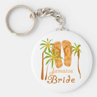 Flip Flops Jamaica Bride Basic Round Button Key Ring