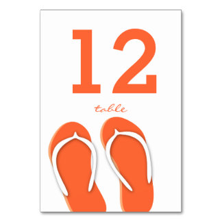 Flip Flops Orange Table Number Card Table Cards