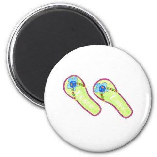 Flip Flops Peace & Love 6 Cm Round Magnet