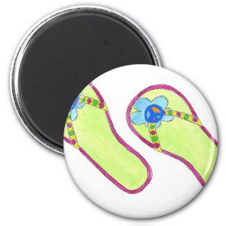 Flip Flops Peace Sign 6 Cm Round Magnet