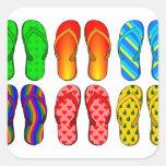 Flip Flops Square Stickers