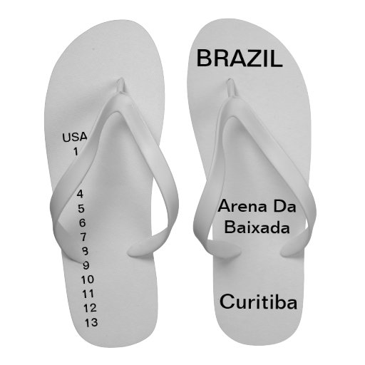 Flip flops with brazil and Curitiba
