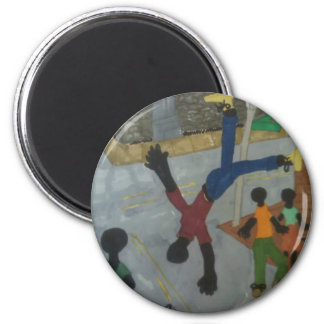Flip up in the Air to feel with the Music 6 Cm Round Magnet