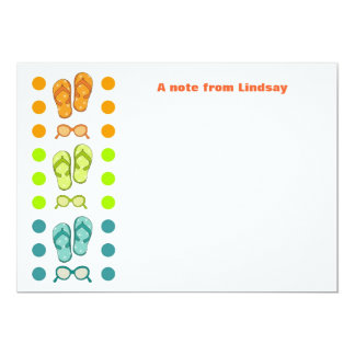 Flipflop and Sunglasses Polka Dot Note Cards 13 Cm X 18 Cm Invitation Card