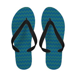 Flipflop Sandals: Emerald and Blue Geometric