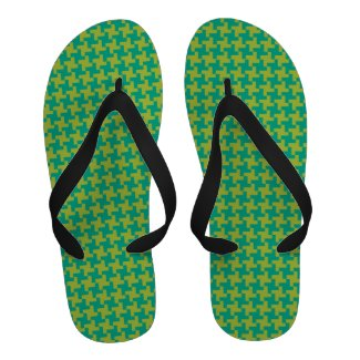 Flipflop Sandals: Emerald, Chartreuse Houndstooth