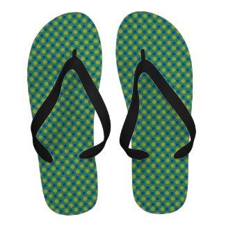 Flipflop Sandals: Emerald, Chartreuse Polka Dots